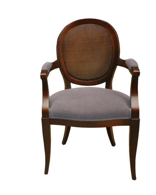 Fauteuil Médaillon moderne petit cannage dos assise garnie en gris-taupe