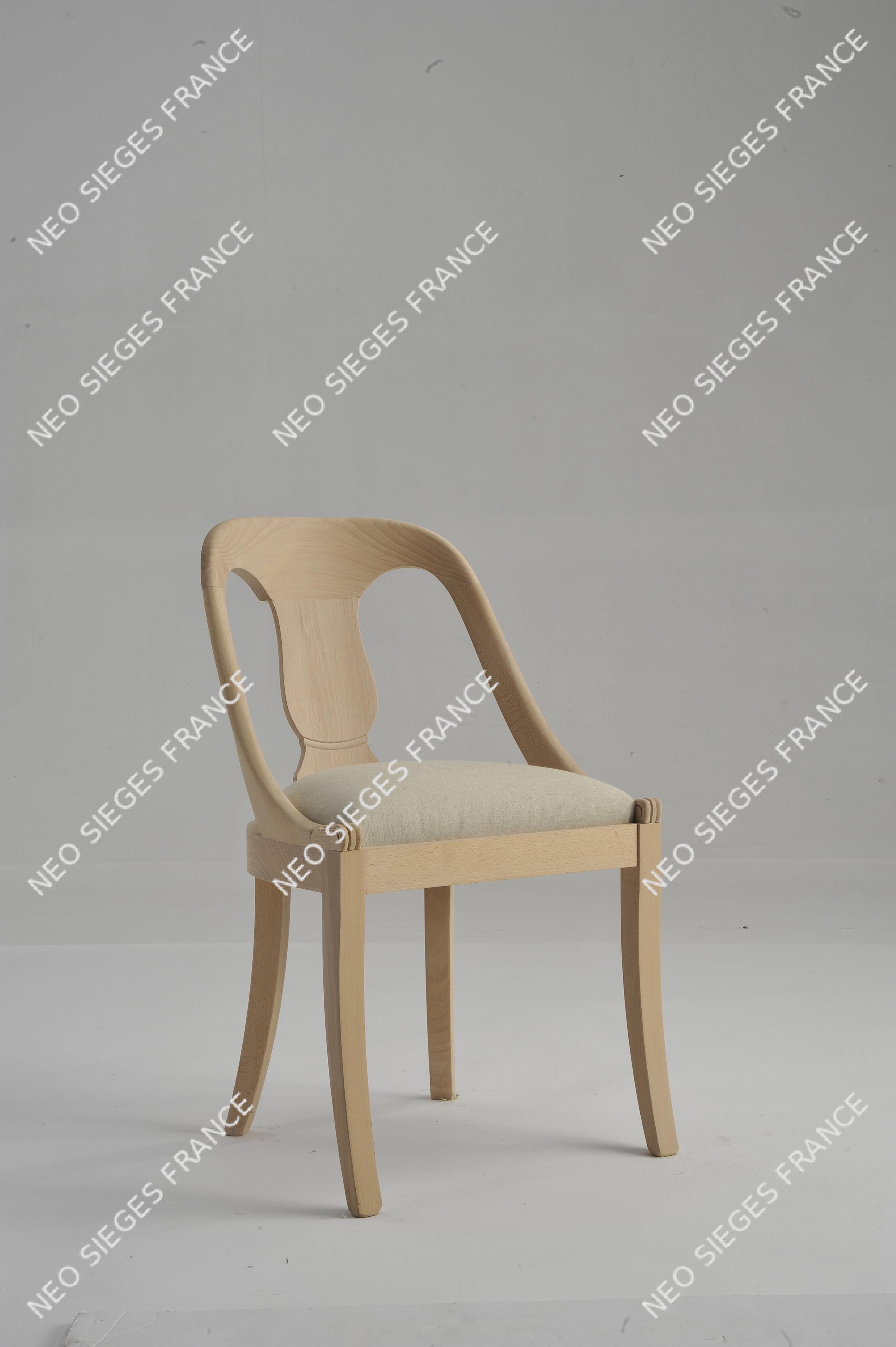 chaise hotte ronde châssis garni en lin réf. 1052