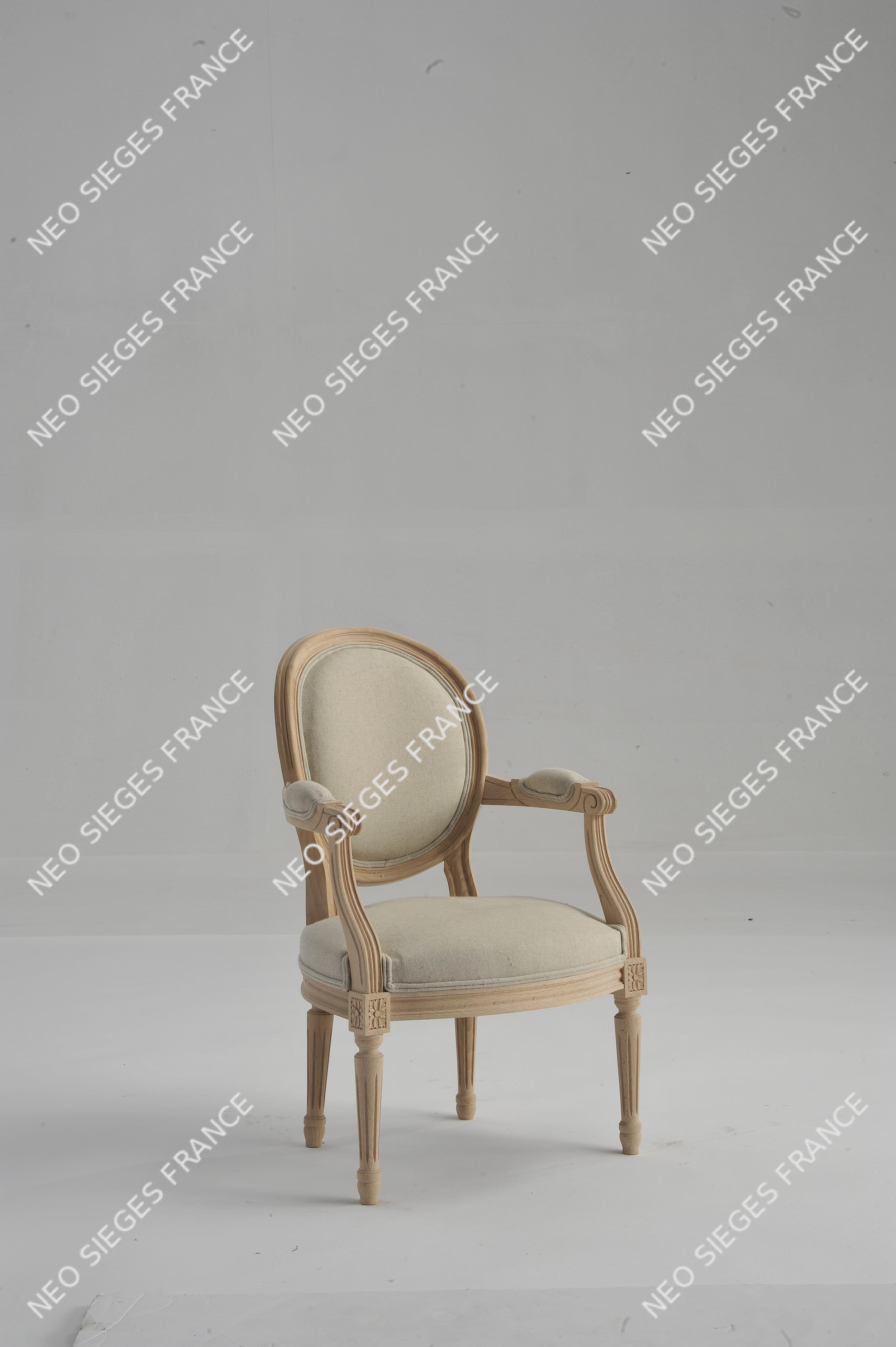 Fauteuil Médaillon enfant garni en blanc lin réf. 2322